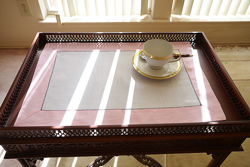 hemstitch placemat candy pink color border