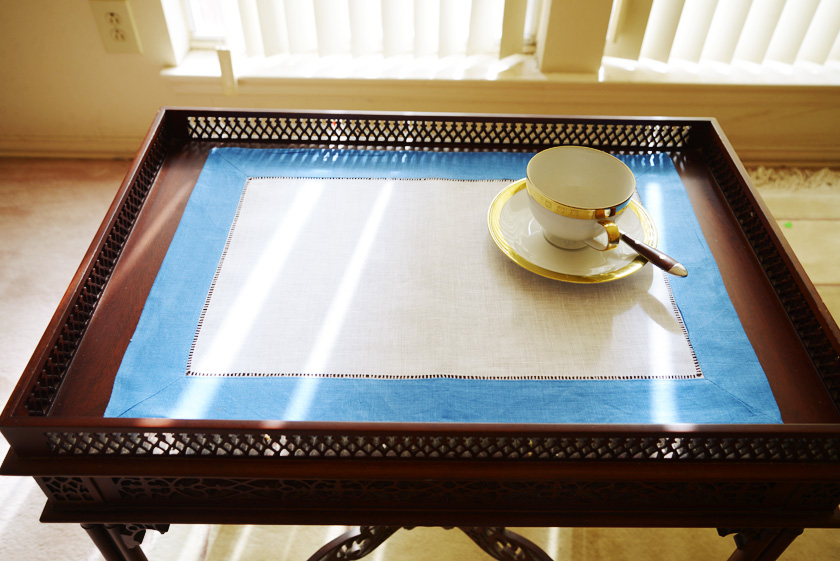 French Blue colored trimmed placemat