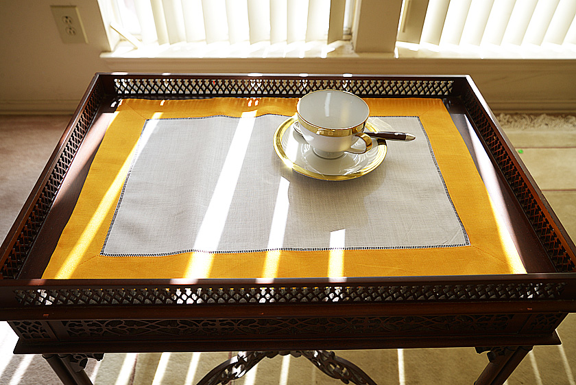 Hemstitch Placemat Iceland Poppy color border