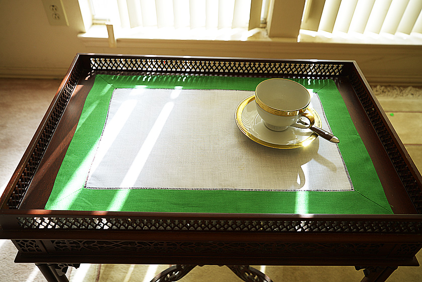 Hemstitch Placemat Kelly green color border