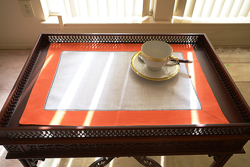 Exotic Orange colored trimmed placemat