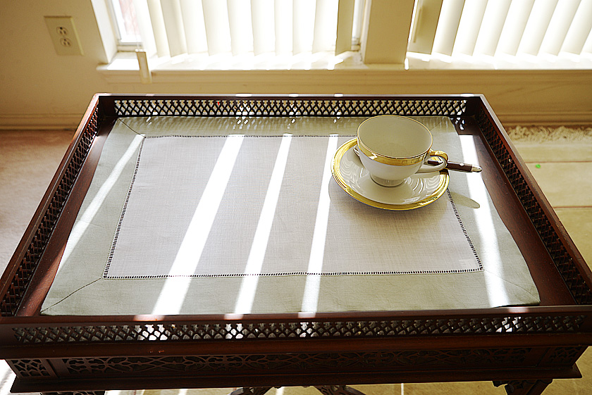 Slate Gray colored trimmed placemat