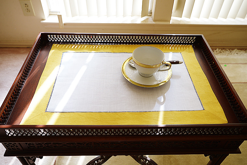 Linen Hemstitch Placemat Spicy Mustard color border