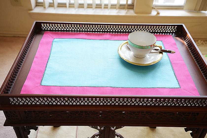 Bachelor Button & Pink Peacock colored placemat