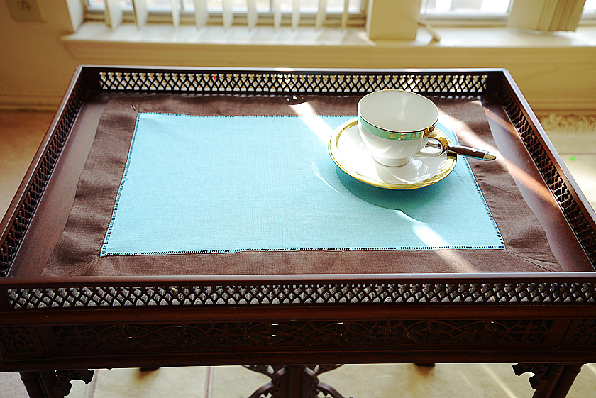 Chocolate & Bachelor Button colored placemat