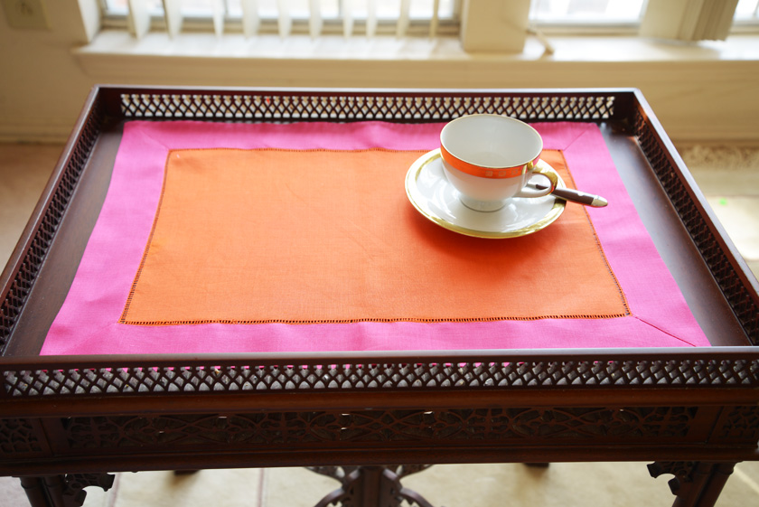 Exotic Orange & Pink Peacock multi color placemat