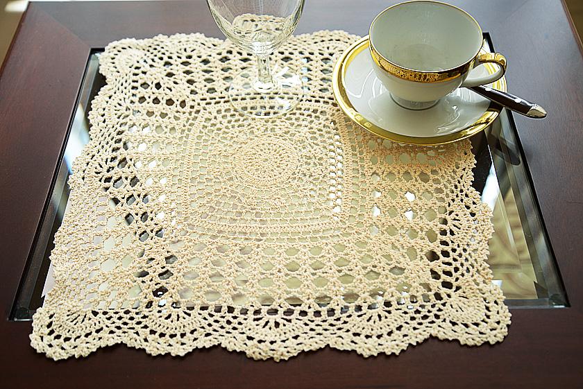 buttercream colored crochet placemat