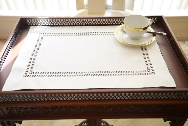 double twisted place mat. coconut milk colored place mat.