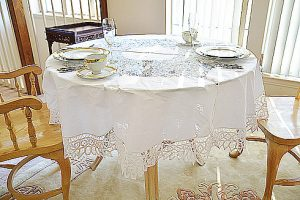 """Battenburg Lace Round Tablecloth. 70"""" round, 90"""" round"""