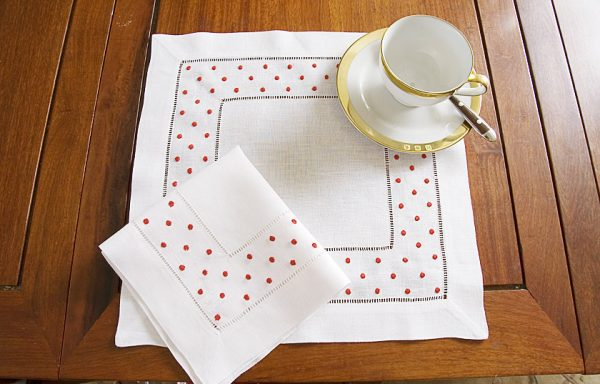 Red Polka Dots Square Linen Hemstitch Placemat