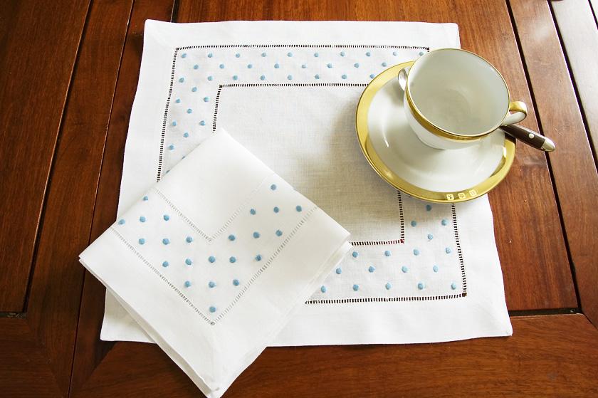 Capri Blue Polka Dot Square Linen Hemstitch Placemat