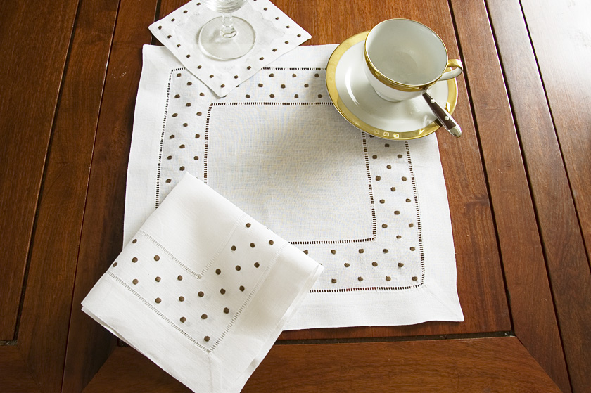 Brown Polka Dots Square Linen Hemstitch Placemat