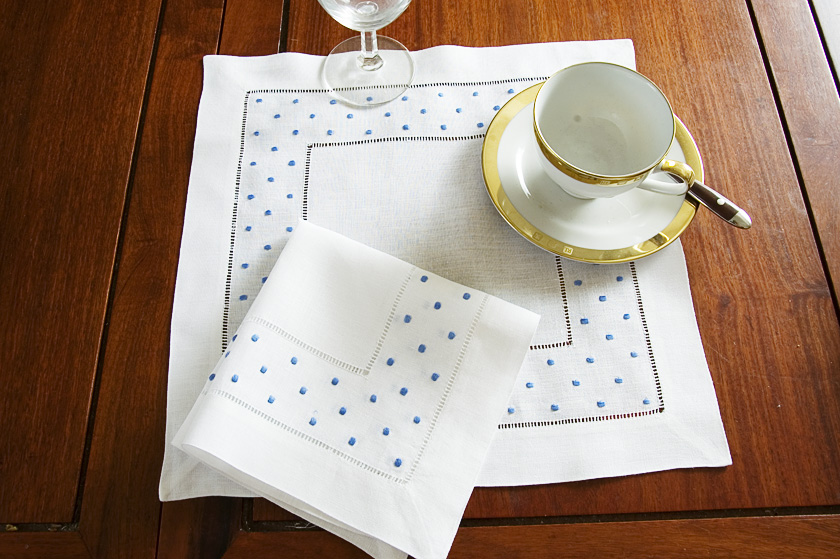 French Blue Polka Dots Square Hemstitch Placemat