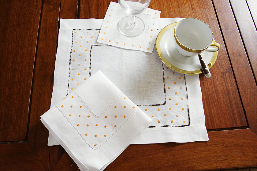 Ornage Polka Dots Square Hemstitch Placemat