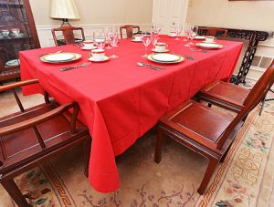 Rectangular Tablecloth. Red colored. Hemstitch.